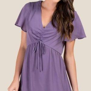 NWT Francesca's Lavender Ruched Front Dress